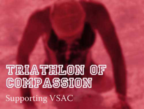 triathlon of Compassion: supporting VSAC: swimmer leaving the pool after training