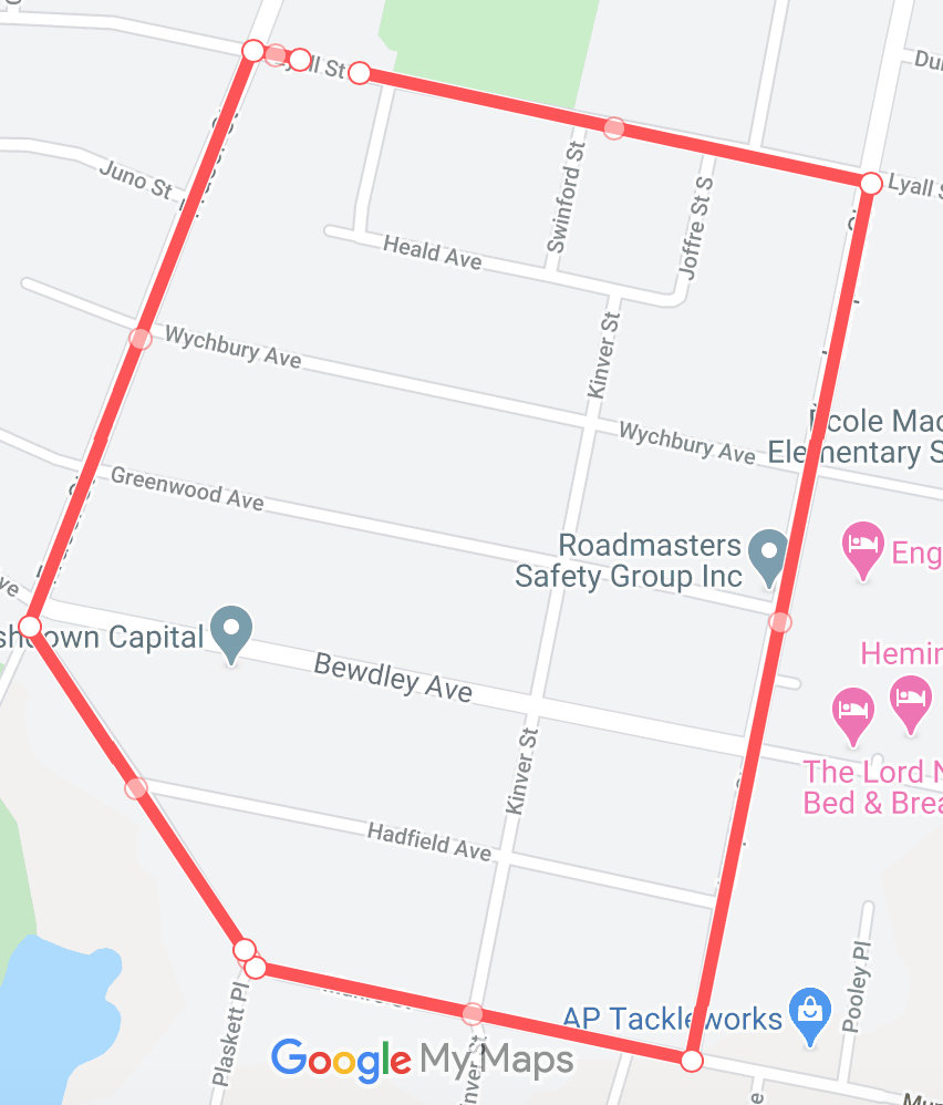 A map of the youth run route